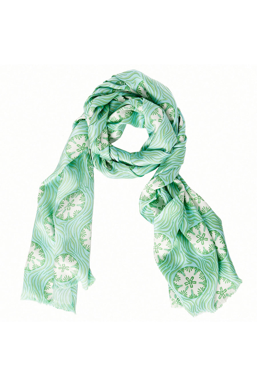 Lotty B Silk Charmeuse Long Scarf (Sand Dollar Repeat Green) Mustique life