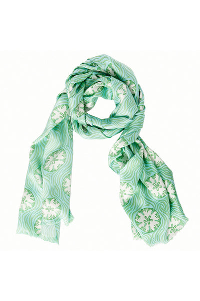 Lotty B Silk Charmeuse Long Scarf (Sand Dollar Repeat Green)