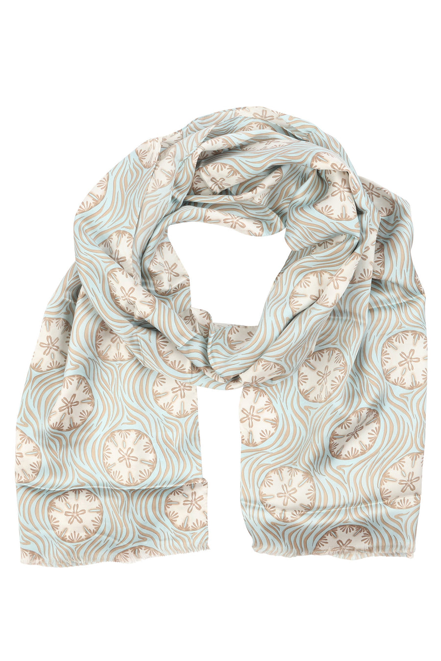 Lotty B Silk Charmeuse Long Scarf (Sand Dollar Repeat Taupe) Headscarf Mustique
