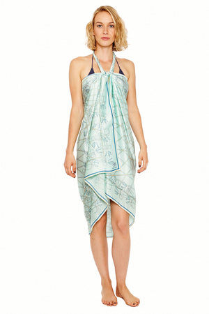 Lotty B Sarong in Silk Charmeuse (Spiderlily Pale Blue) Tied at Neck