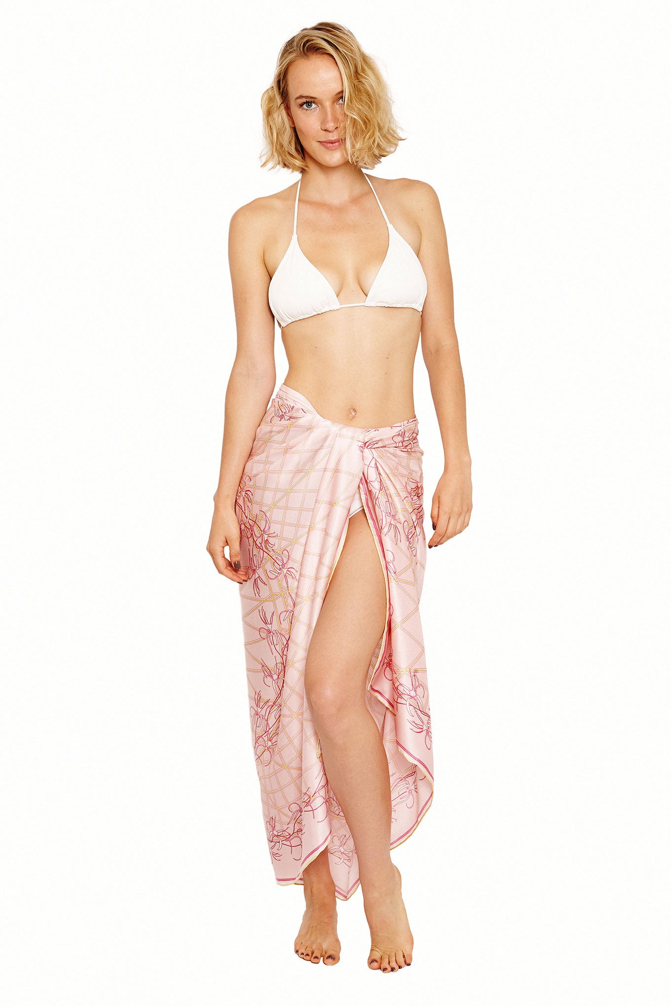 Lotty B Sarong in Silk Charmeuse (Spiderlily Peach Pink) Tied at Hips