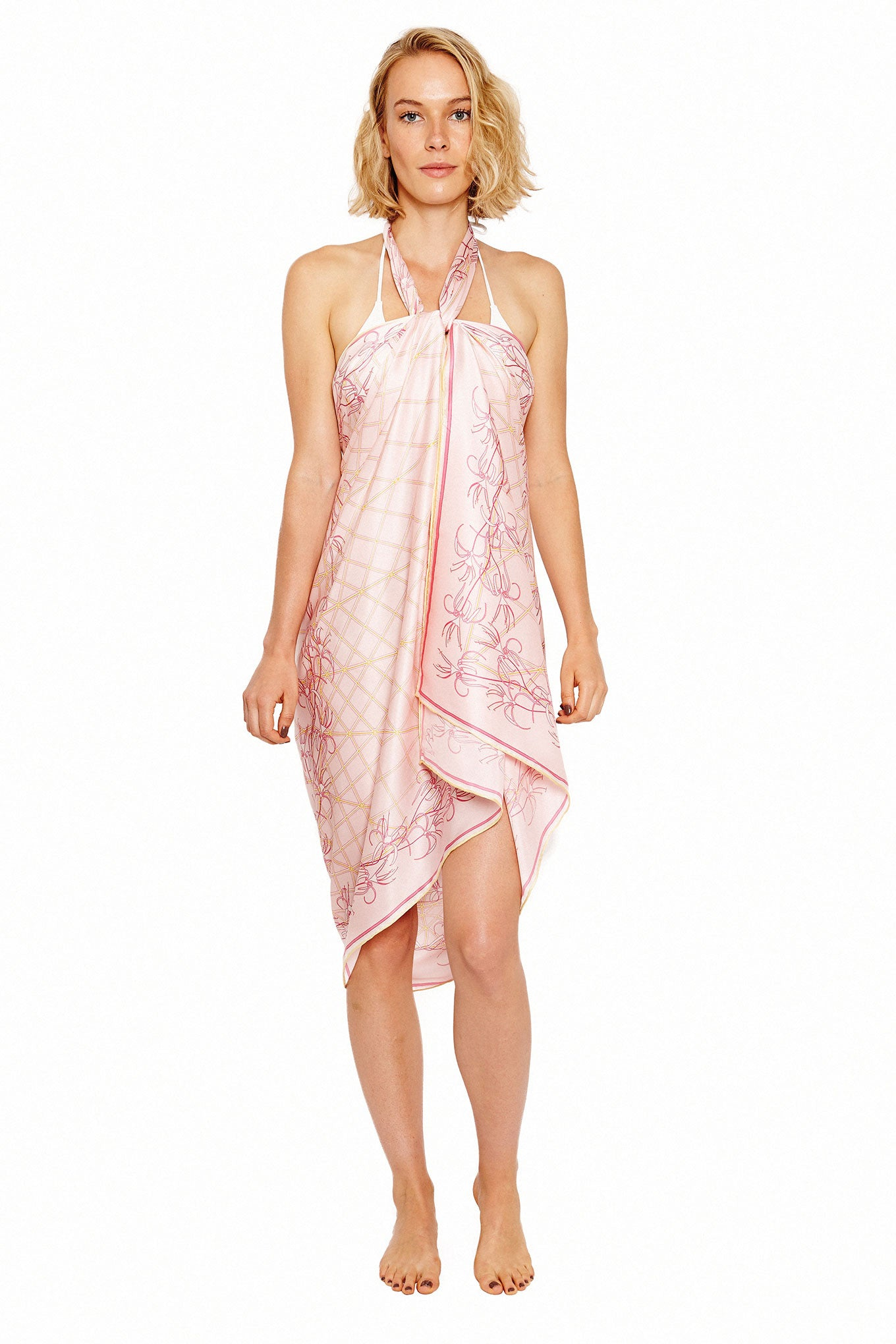 Lotty B Sarong in Silk Charmeuse (Spiderlily Peach Pink) Tied at Neck