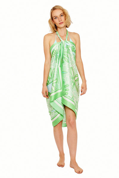Lotty B Sarong in Silk Charmeuse (Sand Dollar Green) Tied at Neck