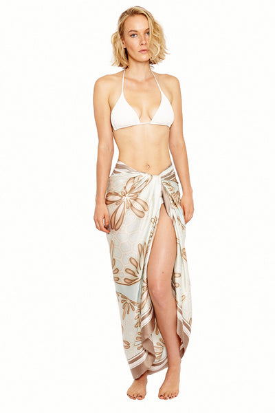 Lotty B Sarong in Silk Charmeuse (Sand Dollar Taupe) Tied at Hips