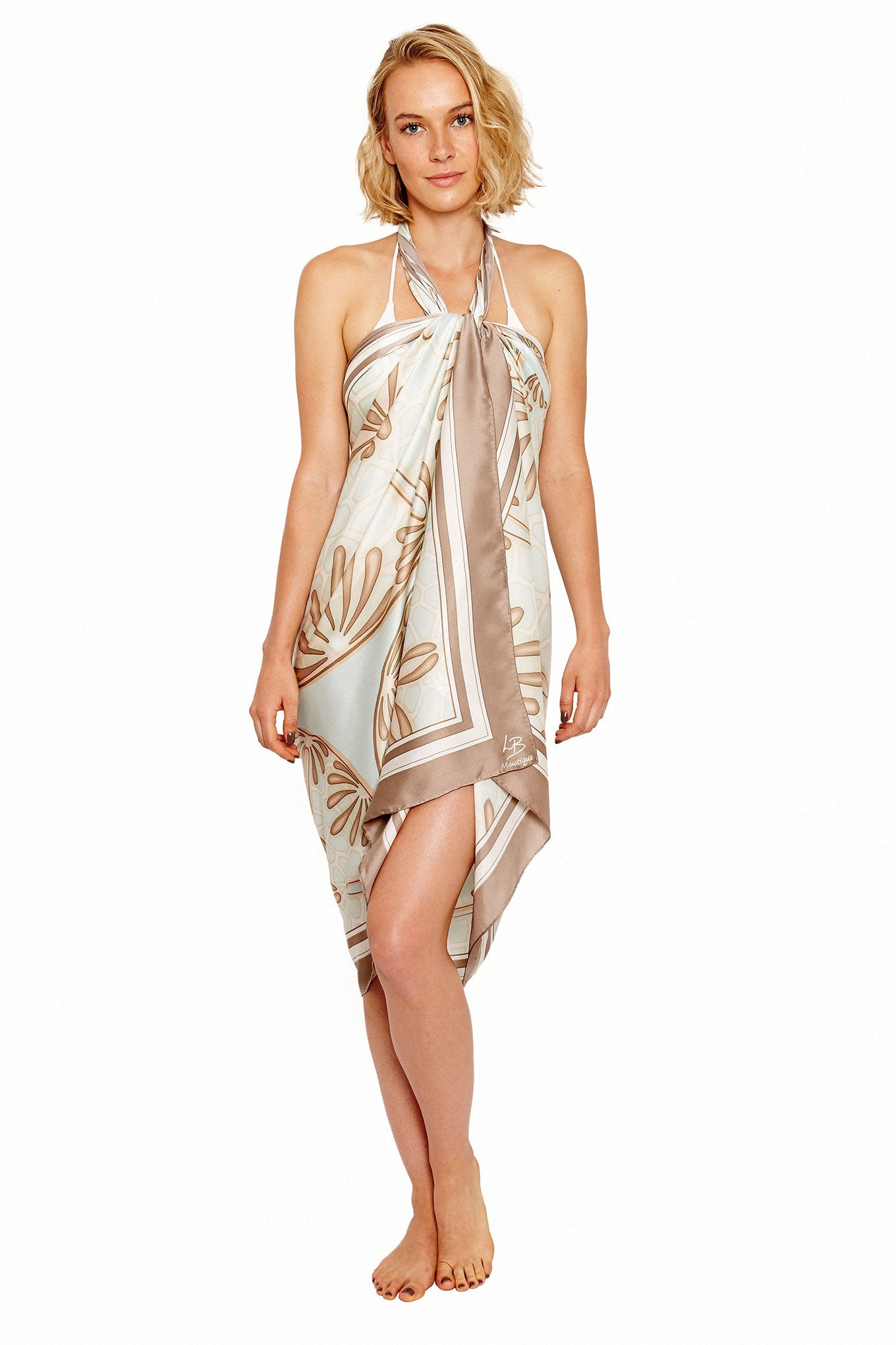 Lotty B Sarong in Silk Charmeuse (Sand Dollar Taupe) Tied at Neck