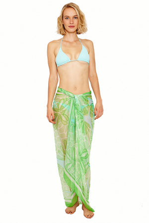 Lotty B Sarong in Silk Chiffon (Sand Dollar Green) Tied at Hips