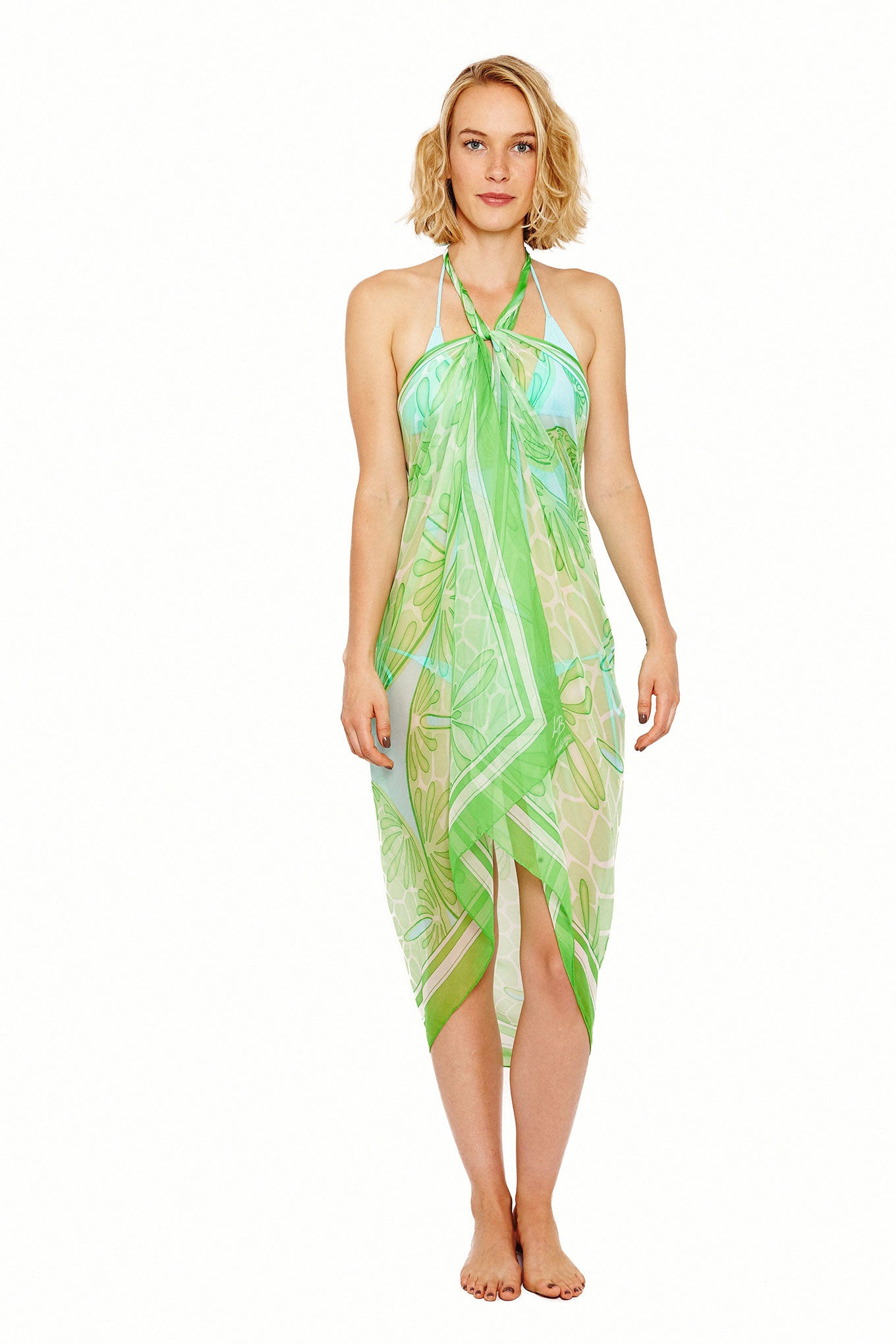 Lotty B Sarong in Silk Chiffon (Sand Dollar Green) Tied at Neck