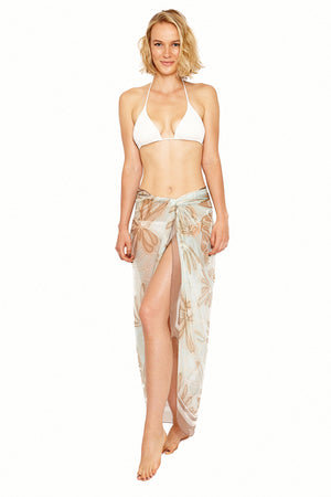 Lotty B Sarong in Silk Chiffon (Sand Dollar Taupe) Tied at Hips