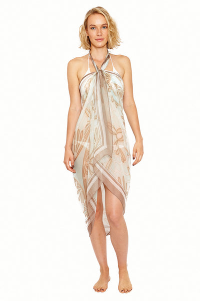 Lotty B Sarong in Silk Chiffon (Sand Dollar Taupe) Tied at Neck