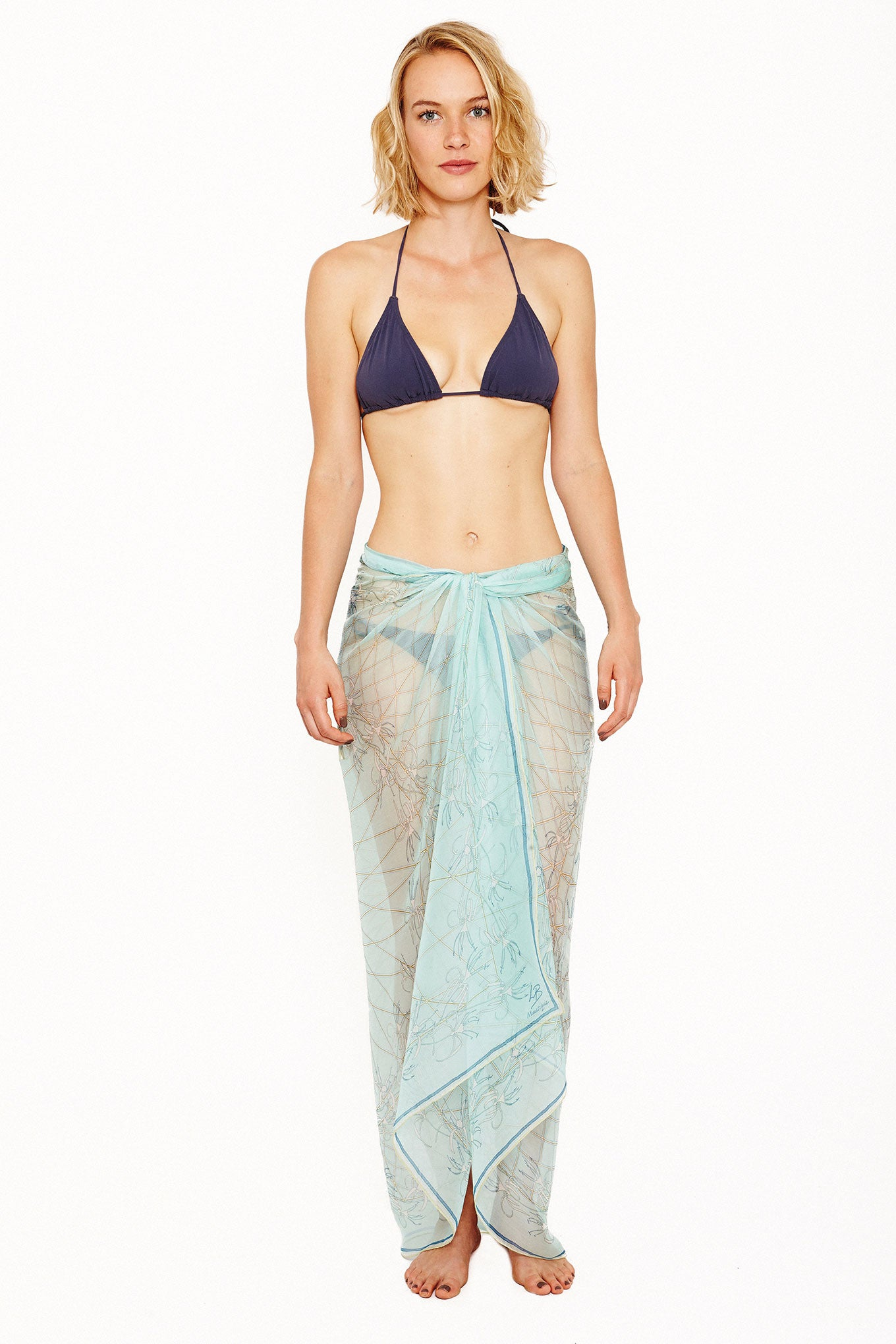 Lotty B Sarong in Silk Chiffon (Spiderlily Pale Blue) Tied at Hips