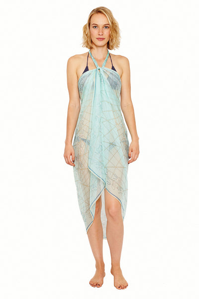 Lotty B Sarong in Silk Chiffon (Spiderlily Pale Blue) Tied at Neck