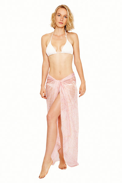 Lotty B Sarong in Silk Chiffon (Spiderlily Peach Pink) Tied at Hips