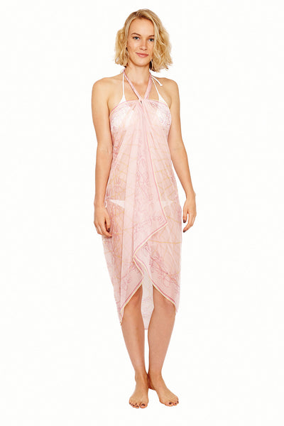 Lotty B Sarong in Silk Chiffon (Spiderlily Peach Pink) Tied at Neck