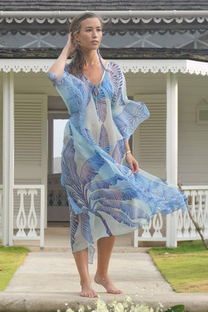 Ellie Kaftan: BANANA TREE - BLUE by designer Lotty B Mustique high end fashion
