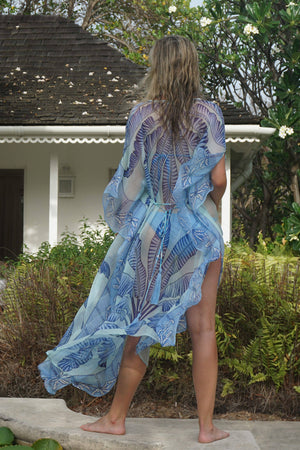Ellie Kaftan: BANANA TREE - BLUE by designer Lotty B Mustique luxury fashion