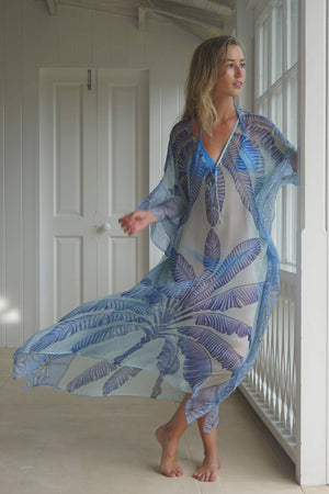Ellie Kaftan: BANANA TREE - BLUE by designer Lotty B Mustique, dress to impress