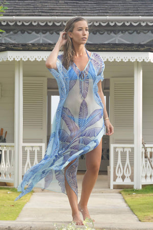 Ellie Kaftan: BANANA TREE - BLUE by designer Lotty B Mustique villa lifestyle