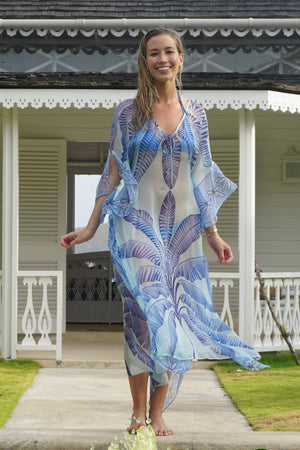 Ellie Kaftan: BANANA TREE - BLUE by designer Lotty B Mustique luxury vacation clothing