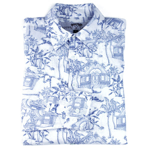 Childrens Linen Shirt: MUSTIQUE TOILE - BLUE