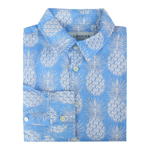 Childrens Linen Shirt: PINEAPPLE - BLUE