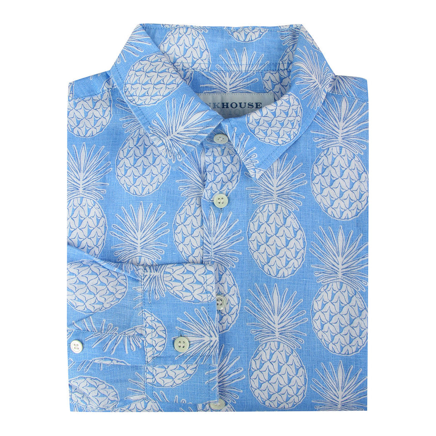 Childrens Linen Shirt: PINEAPPLE - BLUE Mustique life