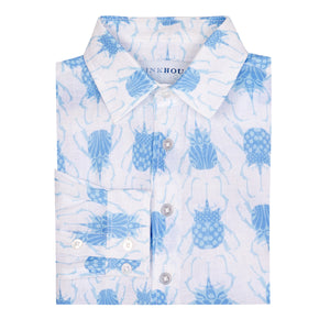 Childrens Linen Shirt: BEETLE - BLUE