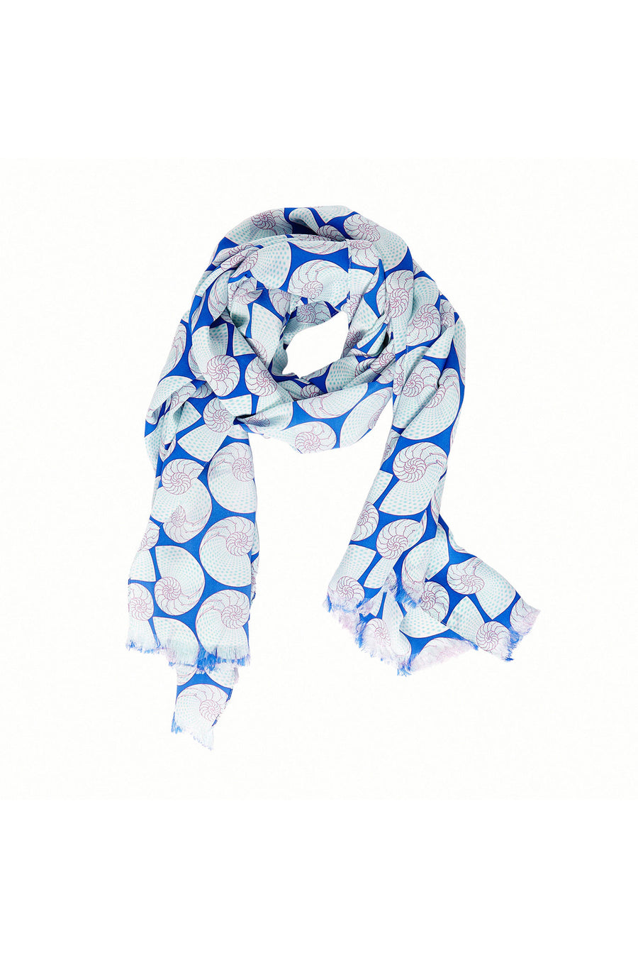 Lotty B Silk Crepe-de-Chine Long Scarf (Shell Repeat Blue) Front Mustique style