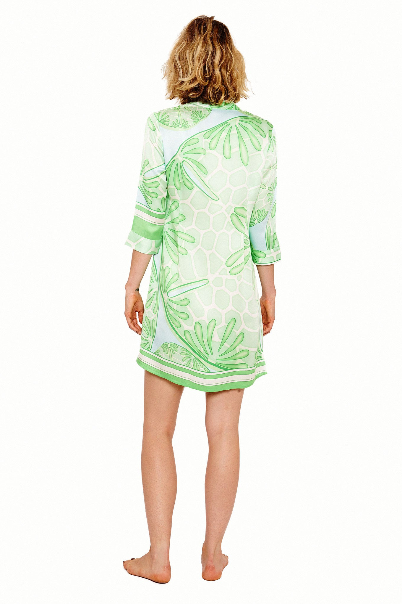 Lotty B Shirt Dress in Silk Crepe-de-Chine (Sand Dollar Green) Back