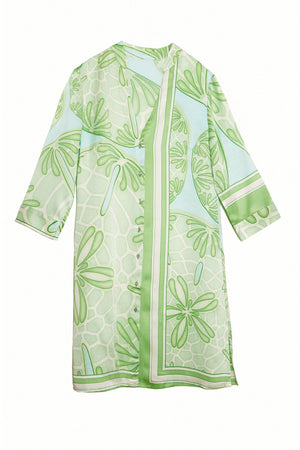 Lotty B Shirt Dress in Silk Crepe-de-Chine (Sand Dollar Green)
