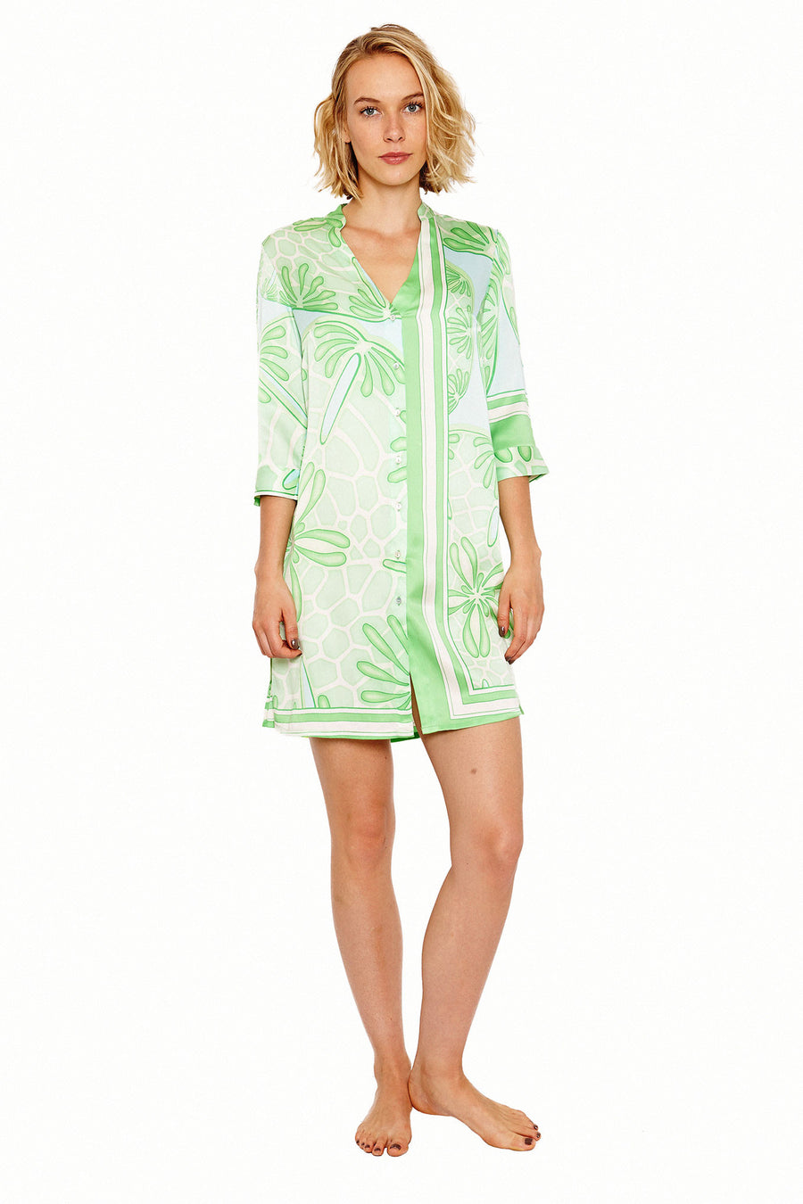 Lotty B Shirt Dress in Silk Crepe-de-Chine (Sand Dollar Green) Mustique Life @ Basil's
