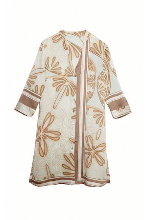 Lotty B Shirt Dress in Silk Crepe-de-Chine (Sand Dollar Taupe)
