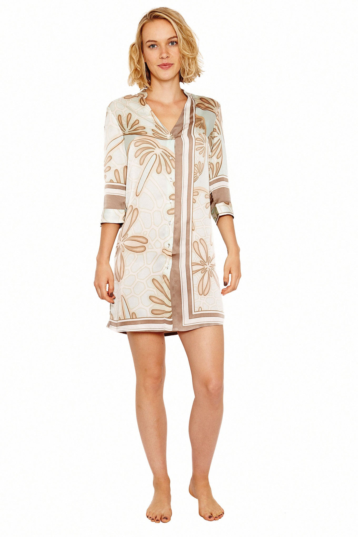 Lotty B Shirt Dress in Silk Crepe-de-Chine (Sand Dollar Taupe) Front