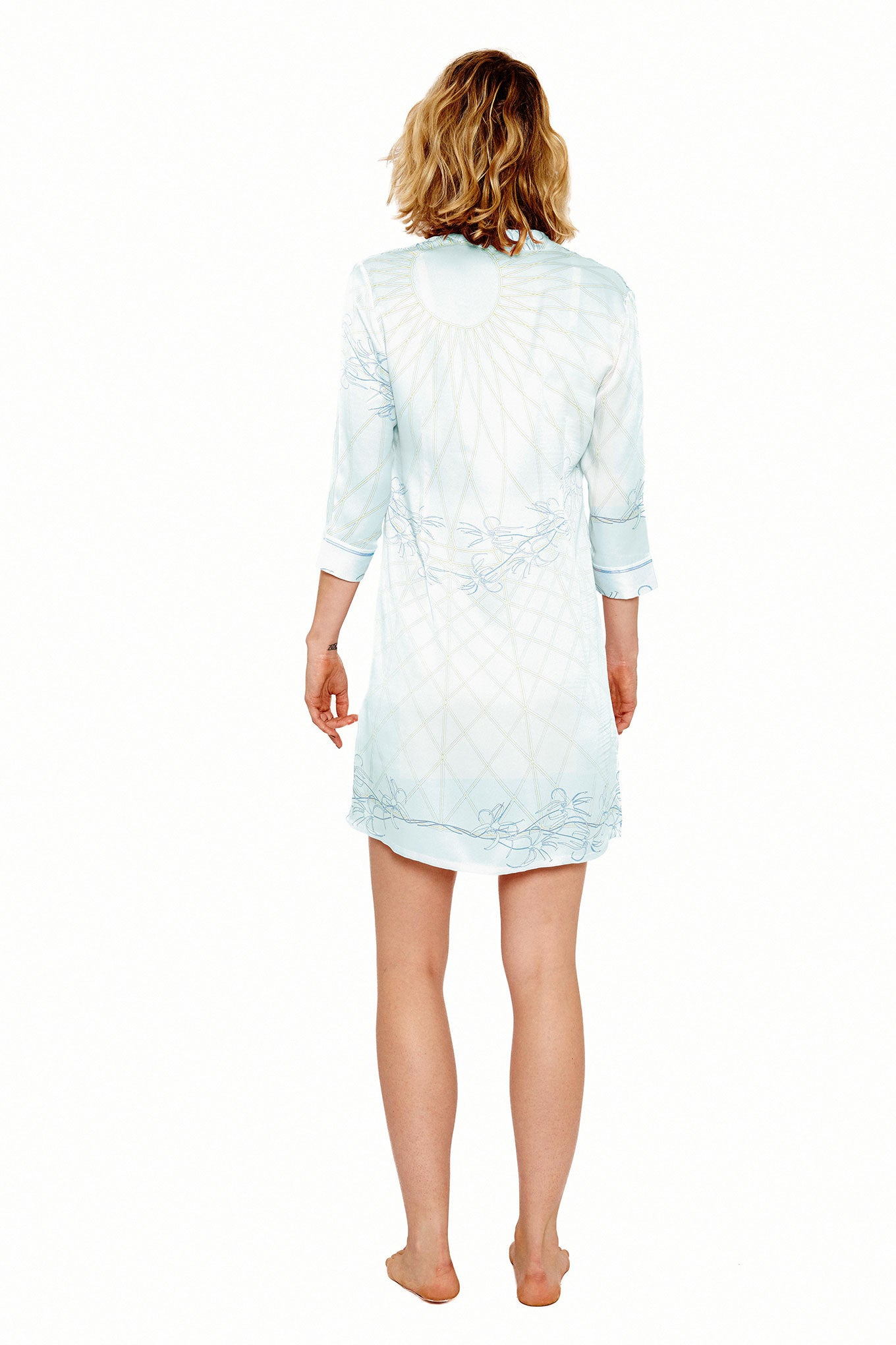 Lotty B Shirt Dress in Silk Crepe-de-Chine (Spiderlily Pale Blue) Back