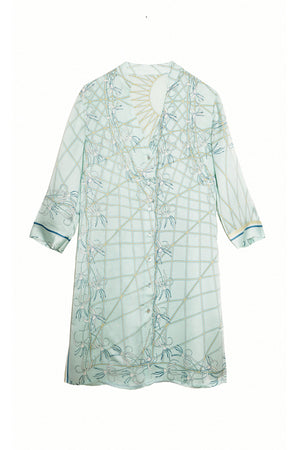Lotty B Shirt Dress in Silk Crepe-de-Chine (Spiderlily Pale Blue)