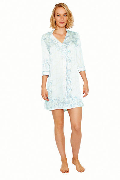 Lotty B Shirt Dress in Silk Crepe-de-Chine (Spiderlily Pale Blue) Front