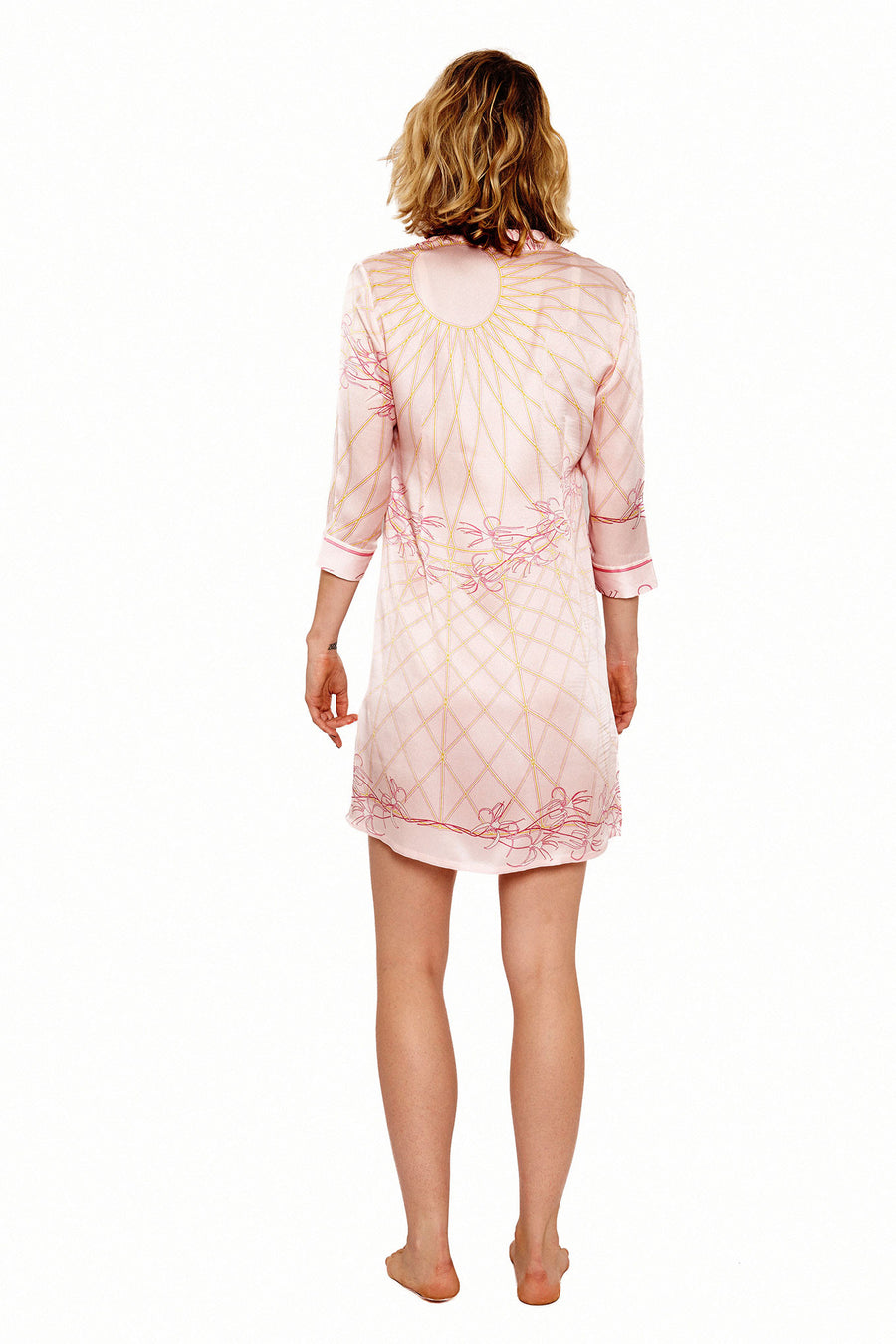Lotty B Shirt Dress in Silk Crepe-de-Chine (Spiderlily Peach Pink)