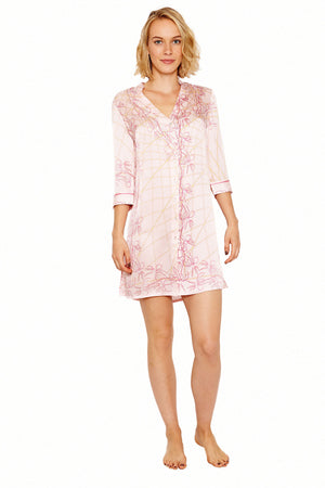 Lotty B Shirt Dress in Silk Crepe-de-Chine (Spiderlily Peach Pink) Front