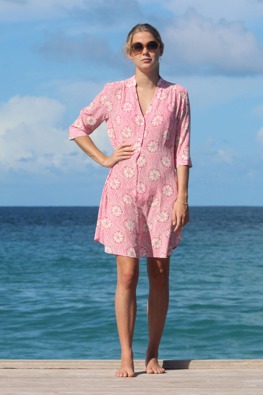 Lotty B Flared Dress in Silk Crepe-de-Chine (Sand Dollar Repeat, Coral) Mustique life
