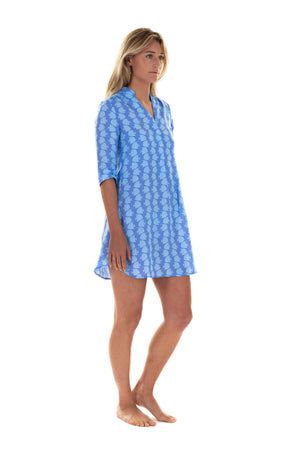 Womens Linen Flared Dress: FISH - TURQUOISE designer Lotty B Mustique style