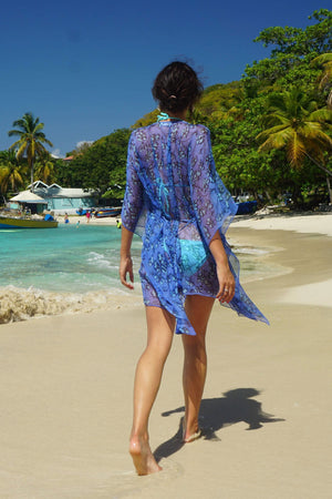 Silk Cosima Kaftan: FLAMBOYANT FLOWER - BLUE, designer Lotty B Mustique beach walks