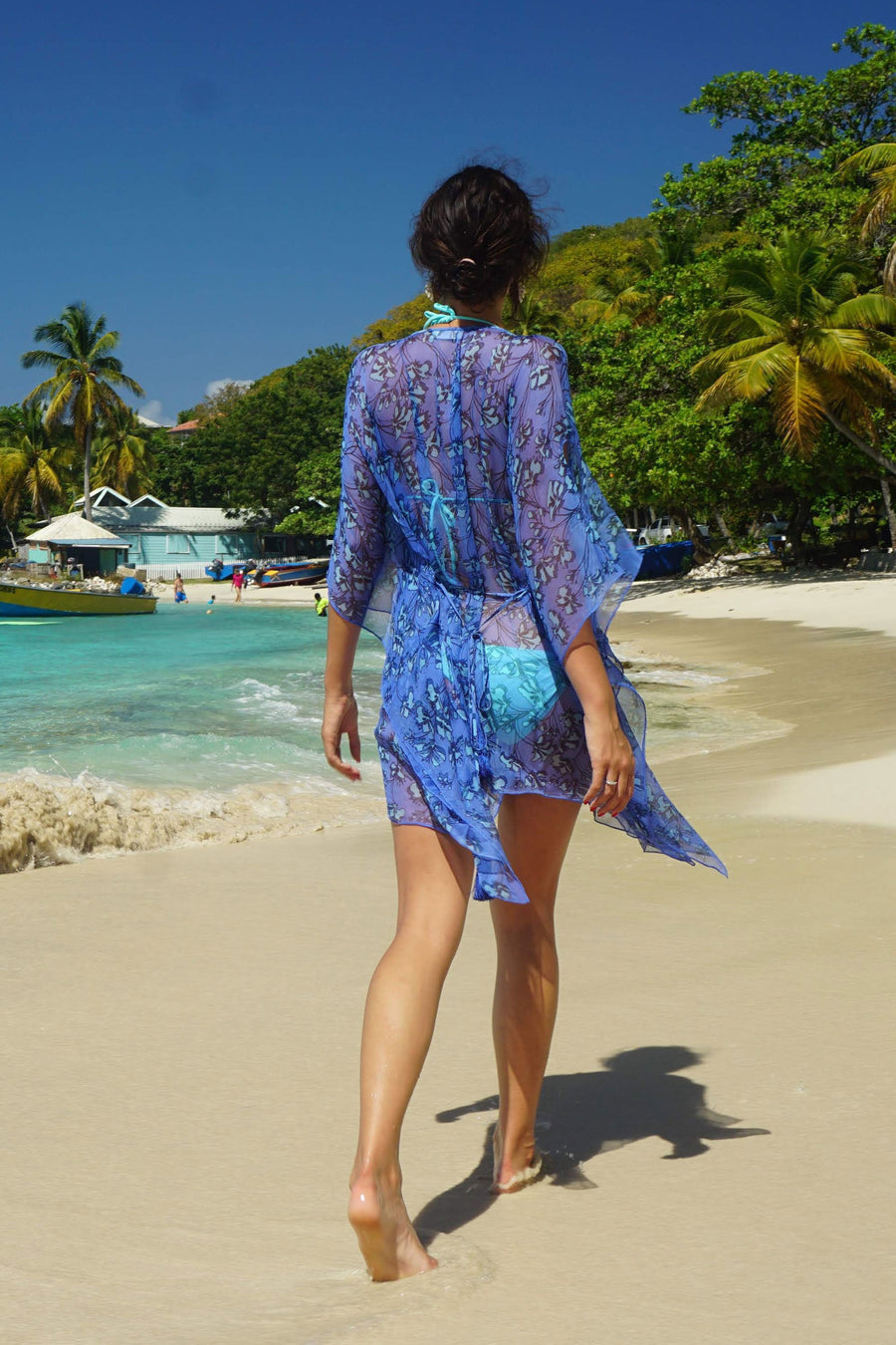 Silk Cosima Kaftan: FLAMBOYANT FLOWER - BLUE, designer Lotty B Mustique lifestyle at Basils Bar
