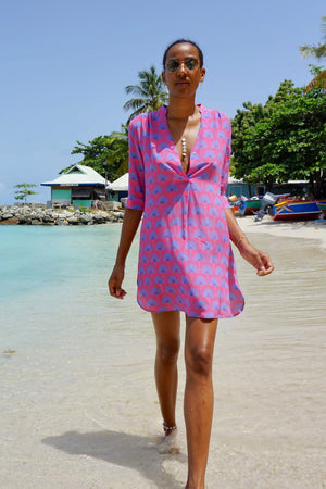 Lotty B Flared Dress in Silk Crepe-de-Chine: SINGLE PALM REPEAT - PINK / BLUE