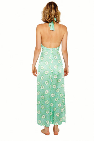 Lotty B Halter-Neck Dress (Sand Dollar Repeat Green) Back