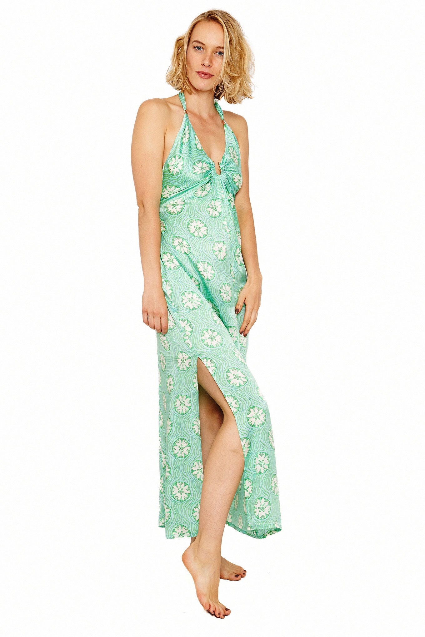 Lotty B Halter-Neck Dress (Sand Dollar Repeat Green) Front