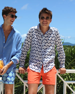 Mens Linen Shirt ~ Monkey (Navy) by the pool Mustique