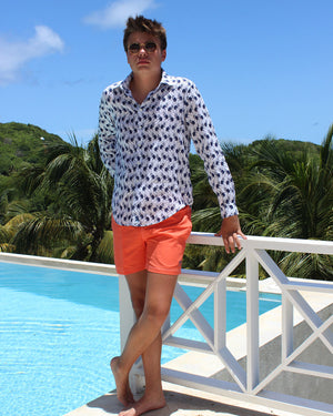 Mens Linen Shirt ~ Monkey (Navy) Mustique life