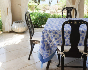 Tablecloth & Napkin set: POMEGRANATE BLUE fabric print designed by British fashion & interiors designer Lotty B for Pink House Mustique
