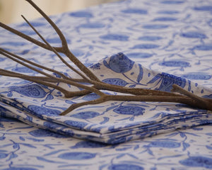 Linen dining table cloth in floral pomegranate blue print