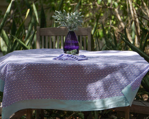 Linen print tablecloth by fabric designer Lotty B Mustique