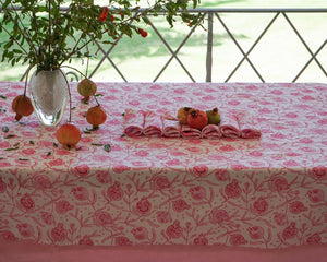 Linen dining table cloth in floral pomegranate pink print